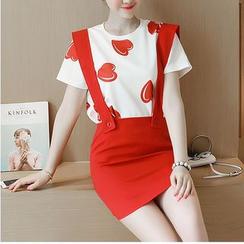 Eighoo - Set: Heart Print Short-Sleeve T-Shirt + Suspender Skirt