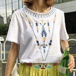 Cloud Nine - Embroidered Short Sleeve T-Shirt