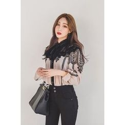 migunstyle - Tie-Front Lace-Panel Blouse