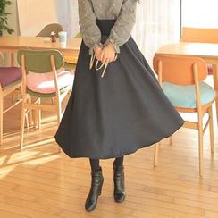 Cherryville - Band-Waist Flare Long Skirt
