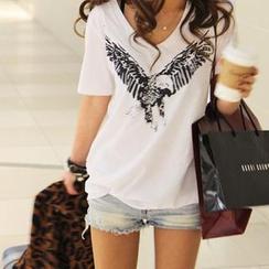 Cocopop - Eagle Print V-Neck T-Shirt