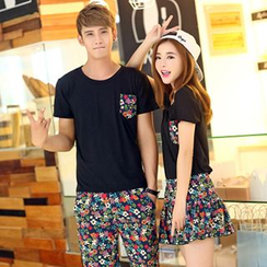 Azure - Couple Matching Set: Short-Sleeve T-Shirt + Floral Print Shorts / Skirt