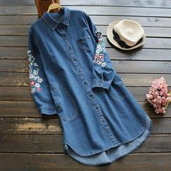YOYO - Long-Sleeve Embroidery Denim Long Shirt