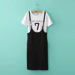 RainbowDay - Set: Short-Sleeve Printed T-Shirt + Suspender Skirt