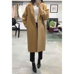 OZNARA - Wool Blend Single-Breasted Long Coat