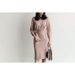 UPTOWNHOLIC - Smocked-Waist Zip-Back Dress With Belt