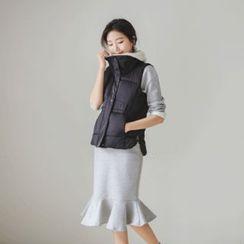 JUSTONE - Fleece-Collar Drawstring-Waist Puffer Vest
