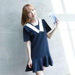 Dodostyle - Contrast-Collar Pinstripe Ruffle-Hem Dress
