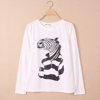 QZ Lady - Long-Sleeve Zebra-Print T-Shirt