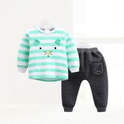 ciciibear - Kids Set: Animal Stripe Sweatshirt + Sweatpants