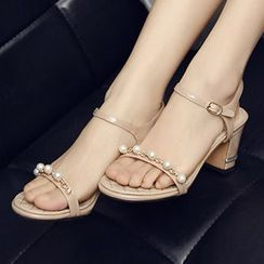 Sidewalk - Embellished Chunky Heel Sandals