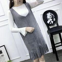 PopCult - Fringe Hem V-Neck Pinafore Dress