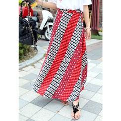 REDOPIN - Geometric Pattern Wrap Skirt