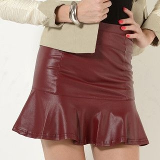 YesStyle Z - Faux-Leather Flutter-Hem A-Line Skirt