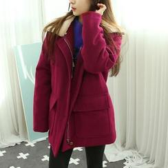 Dodostyle - Faux Fur-Collar Wool Blend Coat