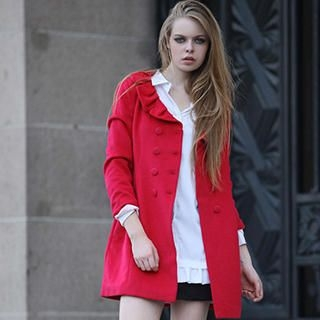 YiGelila - Frilled-Collar Double-Breasted Coat