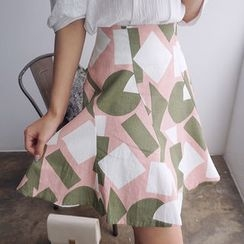 chuu - Patterned Linen Blend A-Line Mini Skirt