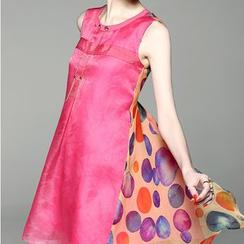 Alaroo - 無袖圓點拼接絲連衣裙