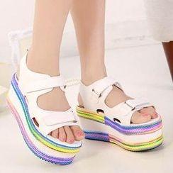 Mancienne - Velcro Platform Sandals