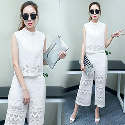lilygirl - Set: Lace Sleeveless Top + Wide Leg Pants