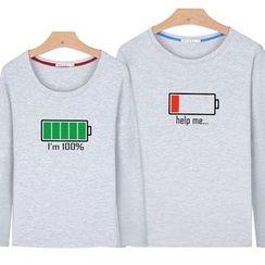 Matcha House - Couple Matching Long-Sleeve Print T-Shirt