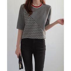 NIPONJJUYA - Short-Sleeve Chevron Knit Top
