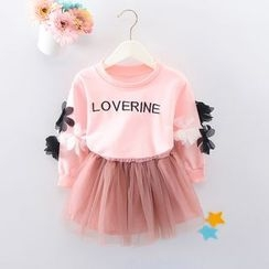 Youtale - Kids Set: Floral Applique Sweatshirt + Tulle Skirt