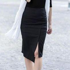 Chicsense - Slit Midi Pencil Skirt