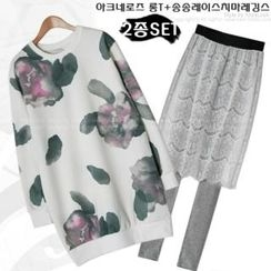Miss Look - Set: Flower Print Long Pullover + Inset Lace-Skirt Leggings