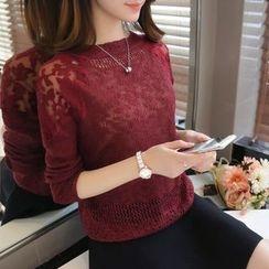 Gemuni - Mesh Panel Knit Top