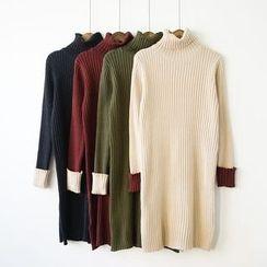 Polaris - Long-Sleeve Mock Neck Knit Dress