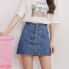 Amella - Denim Buttoned Skirt