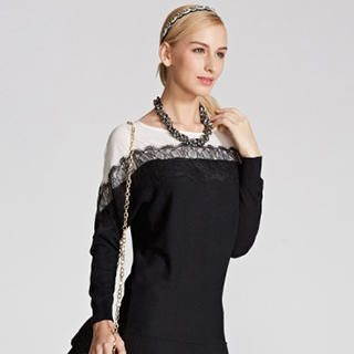 O.SA - Chiffon-Panel Lace-Trim Knit Tunic