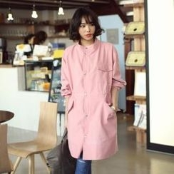midnightCOCO - Mandarin Collar Colored Trench Coat
