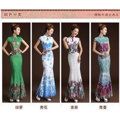 Posh Bride - Cap-Sleeve Floral Lace Mermaid Cheongsam