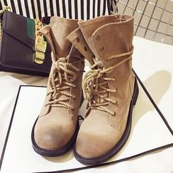 Crystella - Lace Up Short Boots