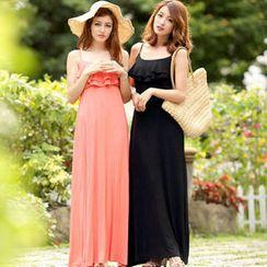 Tokyo Fashion - Ruffled Sleeveless Maxi Dress