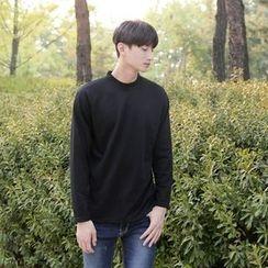 Seoul Homme - Brushed-Fleece Lined Mock-Neck T-Shirt