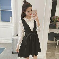 eplus - 套裝: 長袖蕾絲上衣 + 背帶裙連飾帶