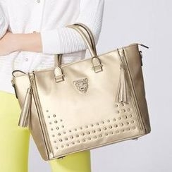 O.SA - Genuine Leather Tasseled Studded Tote
