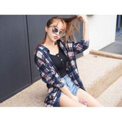 ERANZI - Drop-Shoulder Check Long Shirt