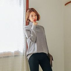 Seoul Fashion - Turtle-Neck Stripe Sleeve Sweater