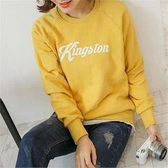 JOAMOM - Ragaln-Sleeve Lettering T-Shirt