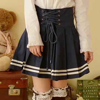 Moriville - Lace-Up Pleated Skirt