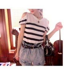Quelite - Short-Sleeve Striped Knit Top
