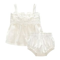 MOM Kiss - Baby Set: Lace Trim Camisole Top + Panties
