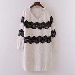 Tulander - Lace Trim Sweater Dress