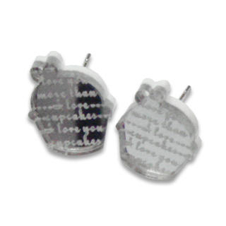Sweet & Co. - I Love Cupcakes Mirror Silver Stud Earrings