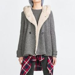 Chicsense - Double-Breasted Hooded Jacket