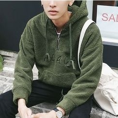 ZZP HOMME - Letter Embroidered Half Zip Hoodie